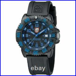 $395 LUMINOX Navy Seal 44mm BLACK/BLUE 200 Meter Silicone Band Swiss Watch 3053