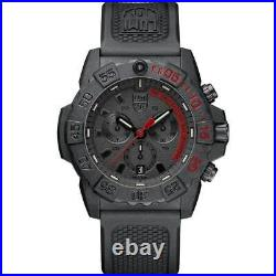 Luminox Men's Watch Navy Seal Chronograph Black and Red Dial Strap 3581. EY