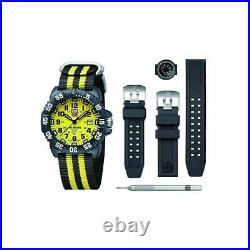 Luminox Men's Watch Set Sea Navy Seal Yellow and Black Nylon Strap 3955. SES