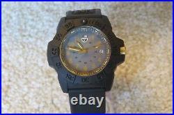 Luminox Navy SEAL Gold Accents Black Strap Mens Watch XS. 3508. GOLD