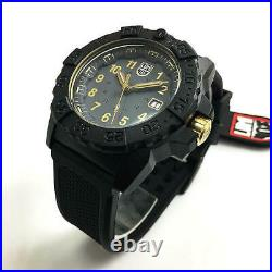 Men's Luminox Navy SEAL Dive Black and Gold Diver's 45mm Watch 3508. GOLD